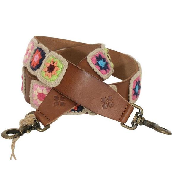 "NWT Patricia Nash 47/"" Leather Shoulder Guitar Handbag Strap Bella Vista Knit"